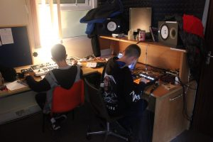 Danny & Cathal producing music at the Studio Kabin